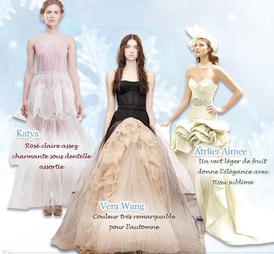 Nouvelles couleurs à la mode pour robe de mariée automne hiver 2012