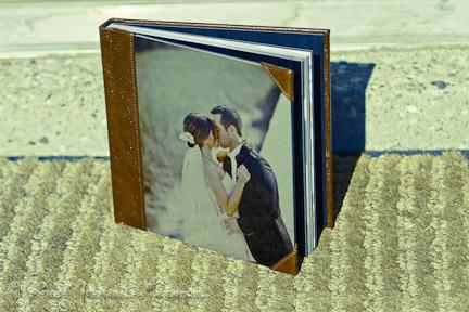 Album de mariage en cuir vintage