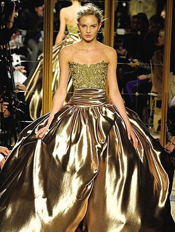 Robe de mariée dorée lumineuse de Marchesa Collection 2013