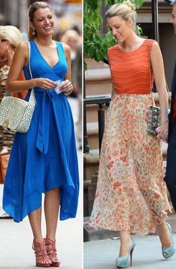 Blake Lively dans robe bleu et jupe fleurie