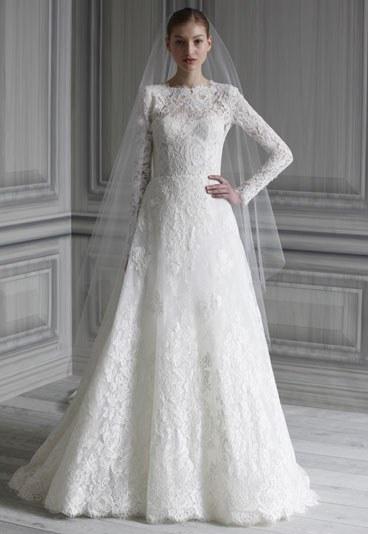 Robe de mariée blanche en dentelle de Monique Lhuillier