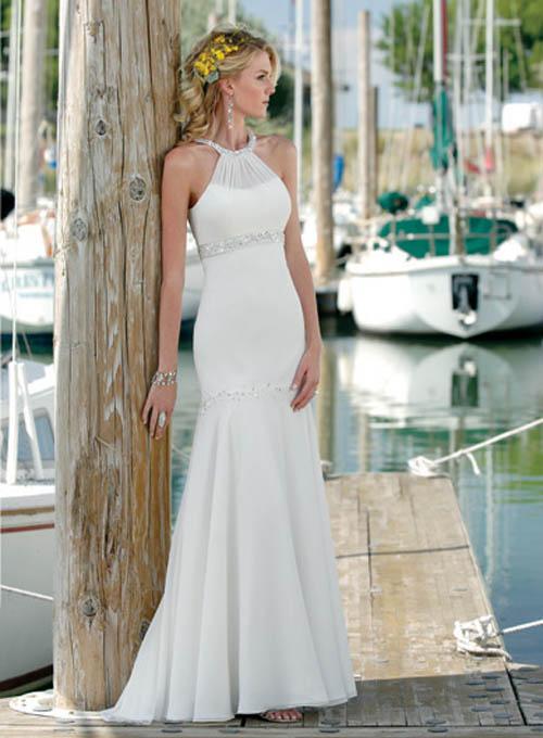 robe de mariee simple blanche avec encolure ronde