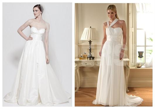 robes de mariée simples et blanches de style Empire