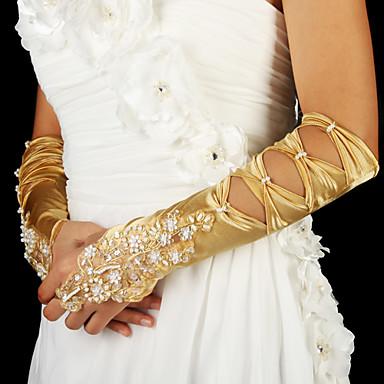 Les gants de mariée d'or en satin avec des perles