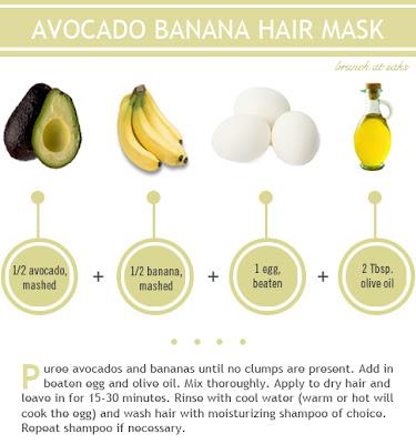 masque naturel des cheveux par les fruits et l'huile d'olive