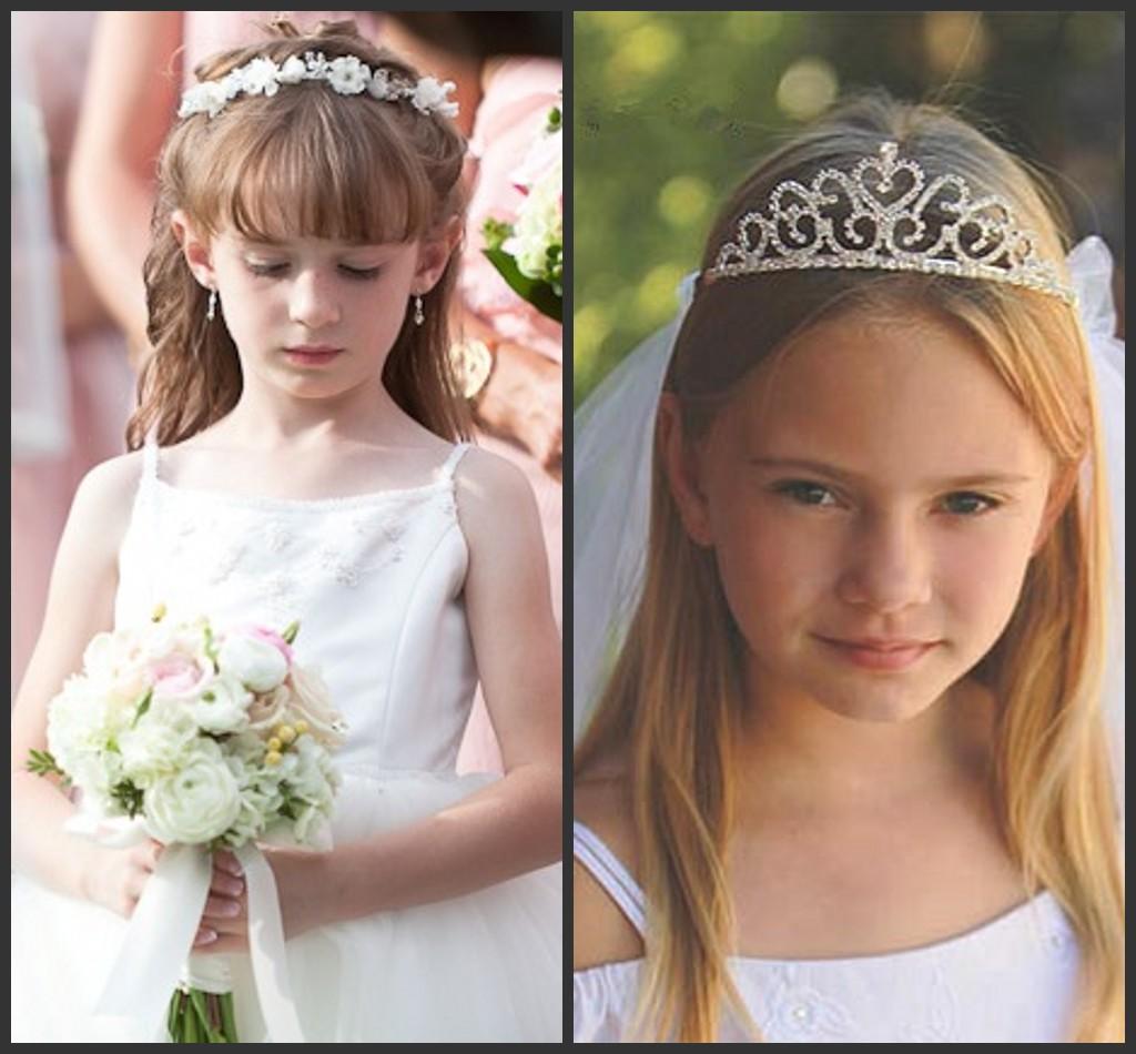 Une paire de boucles d'oreilles simple et une tiare pour les petites demoiselles d'honneur
