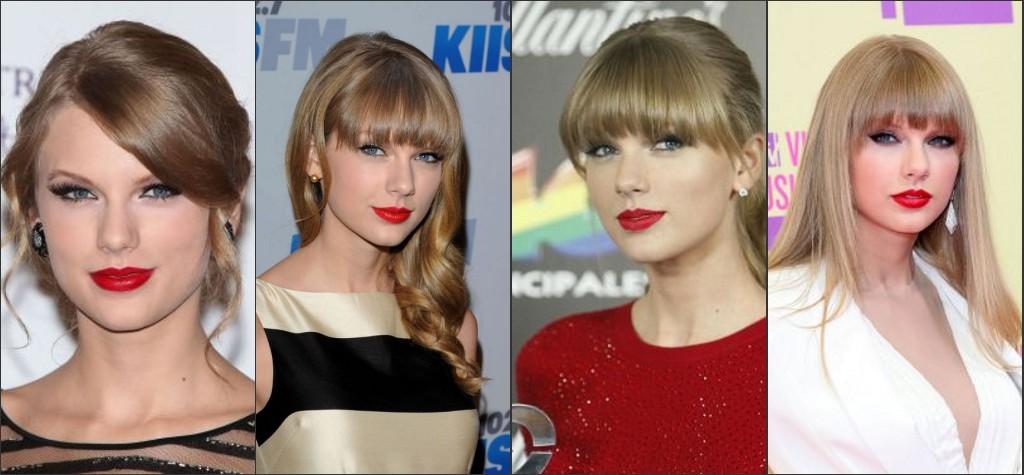 Toujours avec la lèvre rouge au tapis rouge diverse de Taylor Swift.