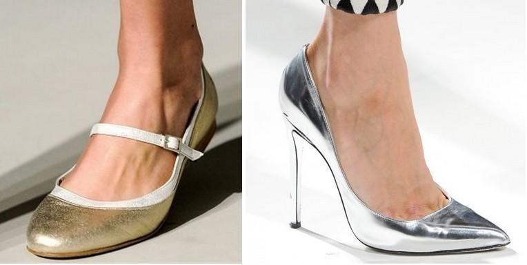 Tendances 2013 - Chaussures métalliques Argentées et dorées