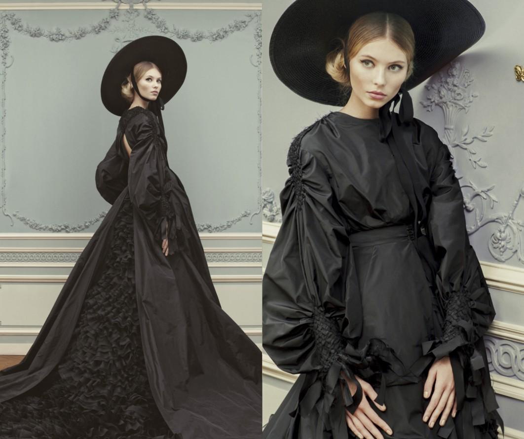 Robe de mariée noire avec un chapeau noir à grand bord, cette robe noire issue de la collection 2013 d'ulyana sergeenko