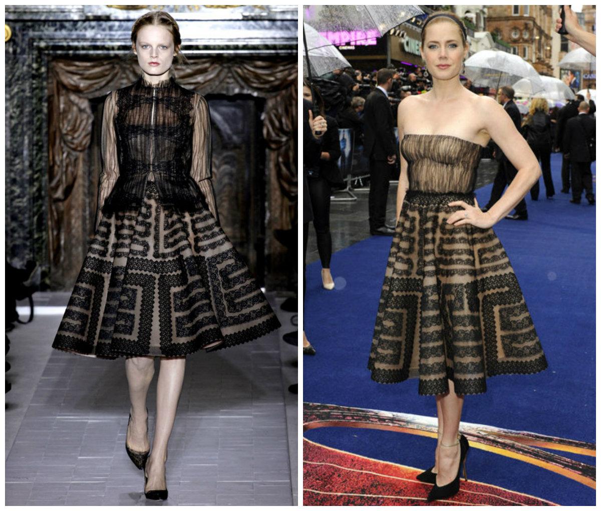 Amy Adams est vêtue d'une robe courte noire en dentelle de Valentino