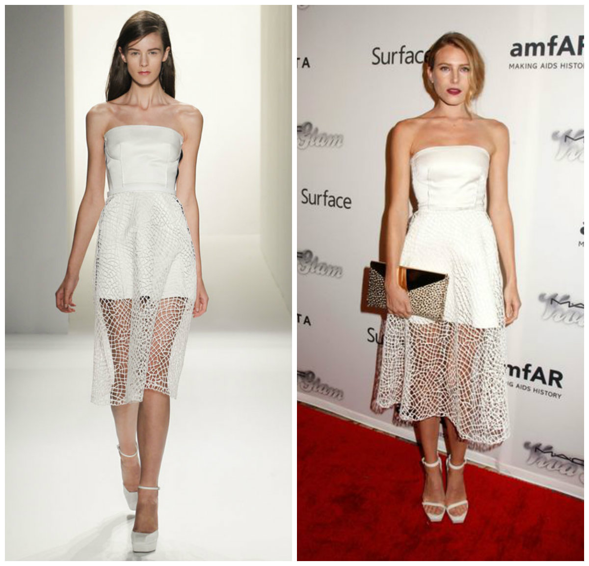 Dree Hemingway dans une robe de soirée blanche de Calvin Klein
