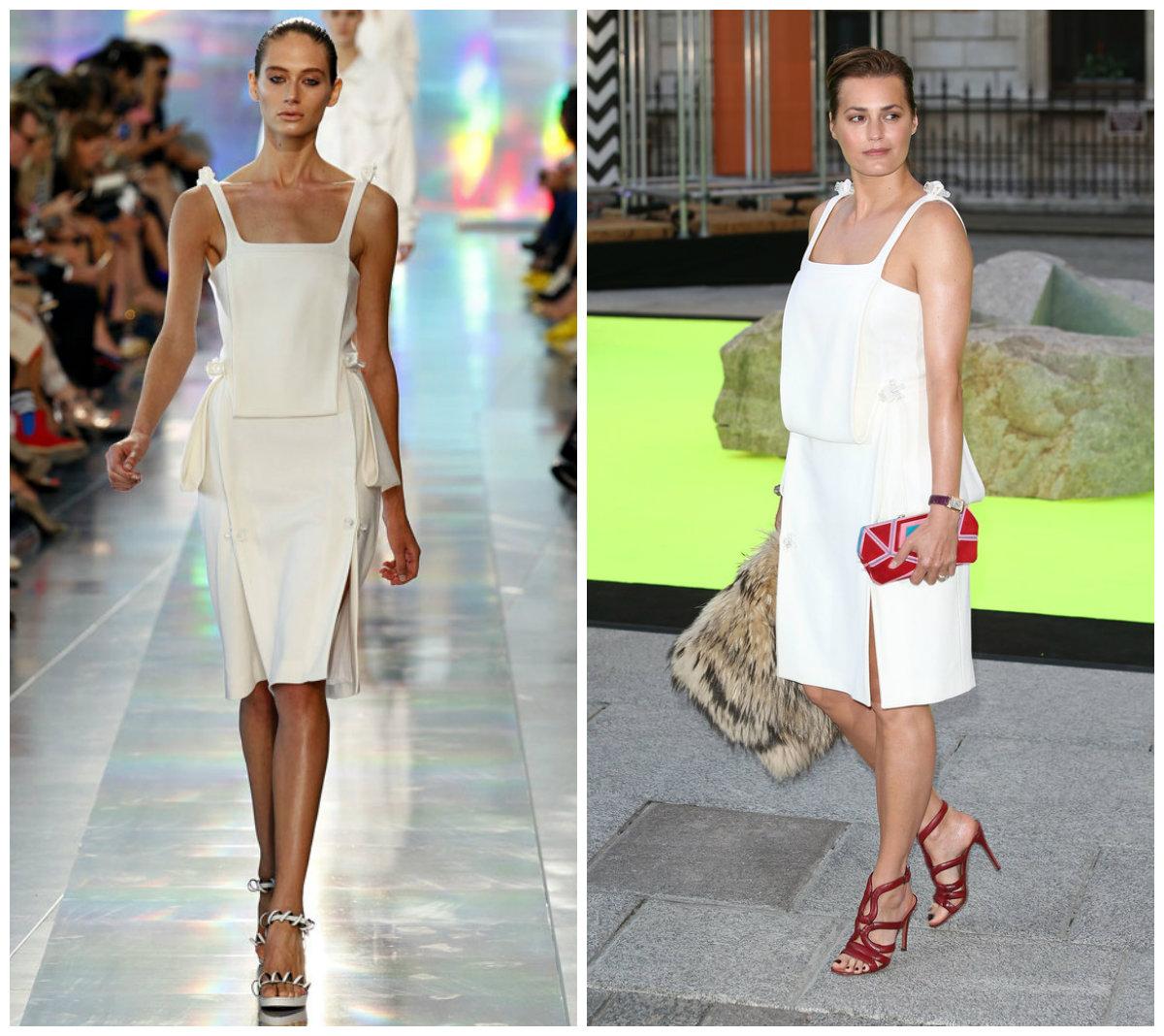 Yasmin Le Bon s'habille une robe blanche courte de Christopher Kane