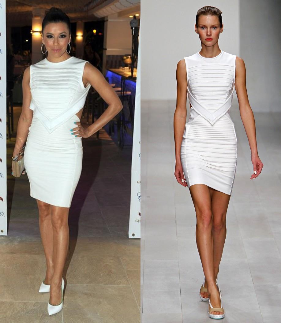 Eva Longoria dans une robe blanche le 3 août 2013 en Espagne