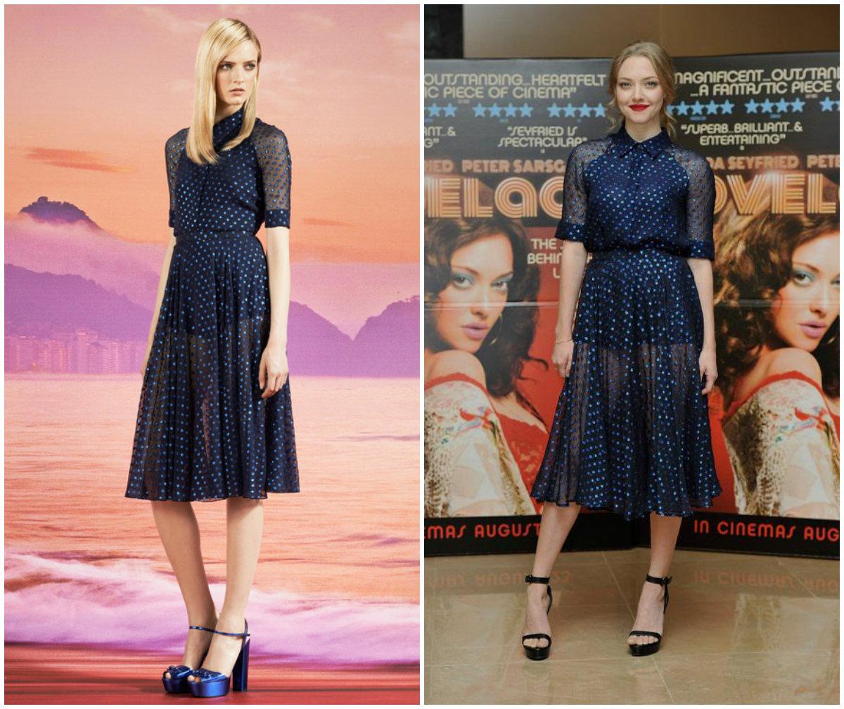 Amanda Seyfried portant une des robes de la collection croisière 2014 de la maison Gucci à l'avant-première du film « Lovelace » à Londres