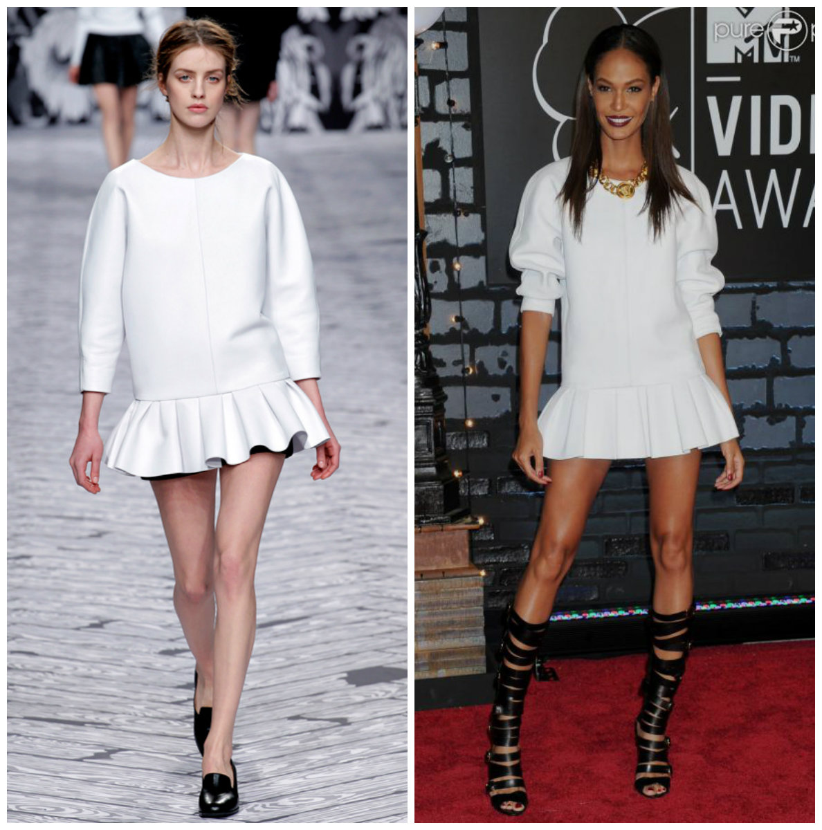 Joan smalls porte une mini robe blanche appartenant à la collection automne-hiver 2013-2014 de la maison Viktor & Rolf