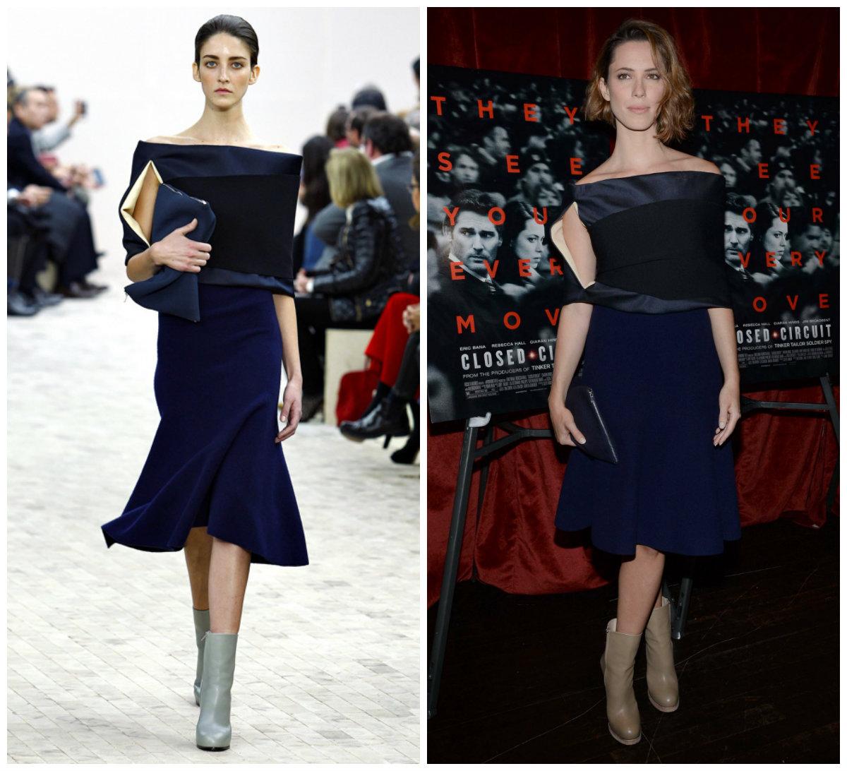 Rebecca Hall opte pour une robe bleue nuit et noire  à l'avant-première du film  « Closed Circuit » à New York