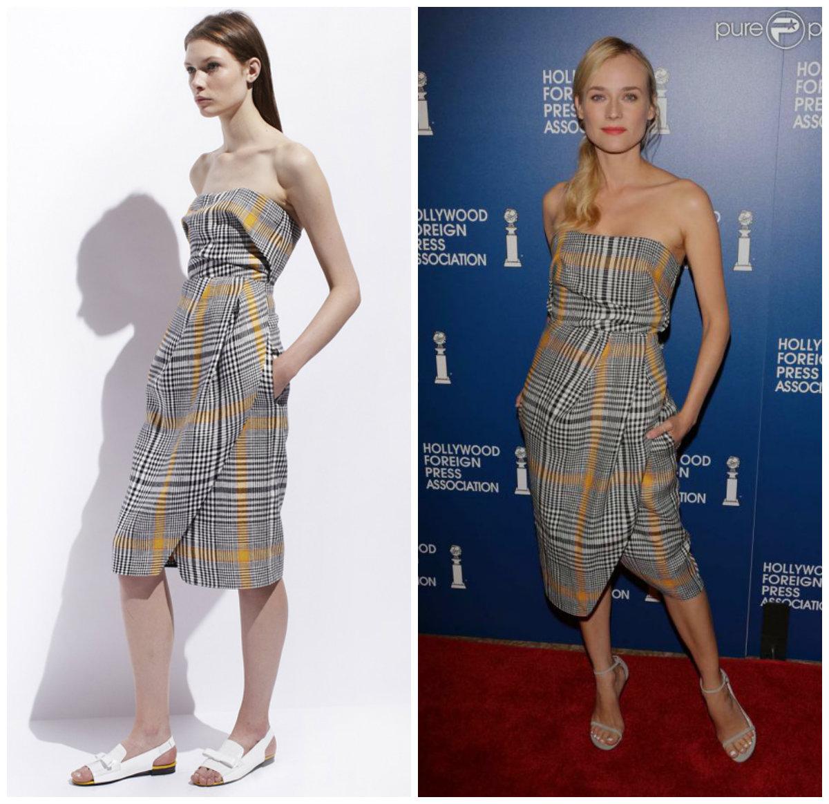 Diane Kruger porte une robe bustier imprimée de la collection croisière 2014 de la griffe Carven