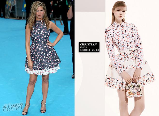 Jennifer Aniston opte pour une robe fleurie issue de la collection Christian Dior croisière 2014