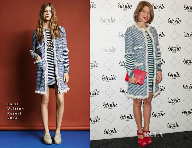 Lea Seydoux en tenue de Louis Vuitton à la première du film « Grand Central » à Paris.