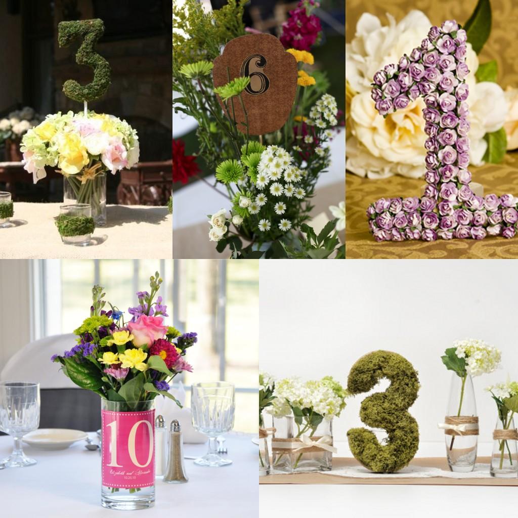 Les numéros de table florales pour le mariage au printemps.