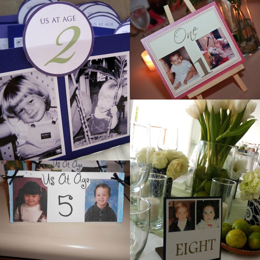Les cartes de numéro pour les tables de mariage : les photos de la mariée et le marié à différents âge