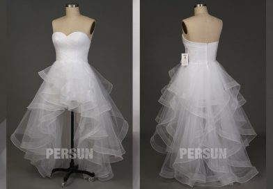 Tendance robes mariée courte devant longue derrière qui fait fureur