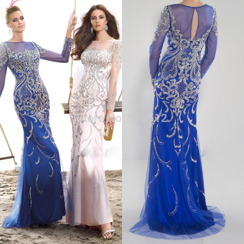 2015-New-Scoop-Neckline-Long-Sleeve-Luxury-Floor-Length-Intricate-Design-Beading-Sexy-Women-font-b