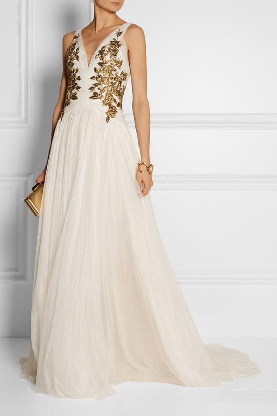 Robe de mariée crème broderie pour Gémeaux