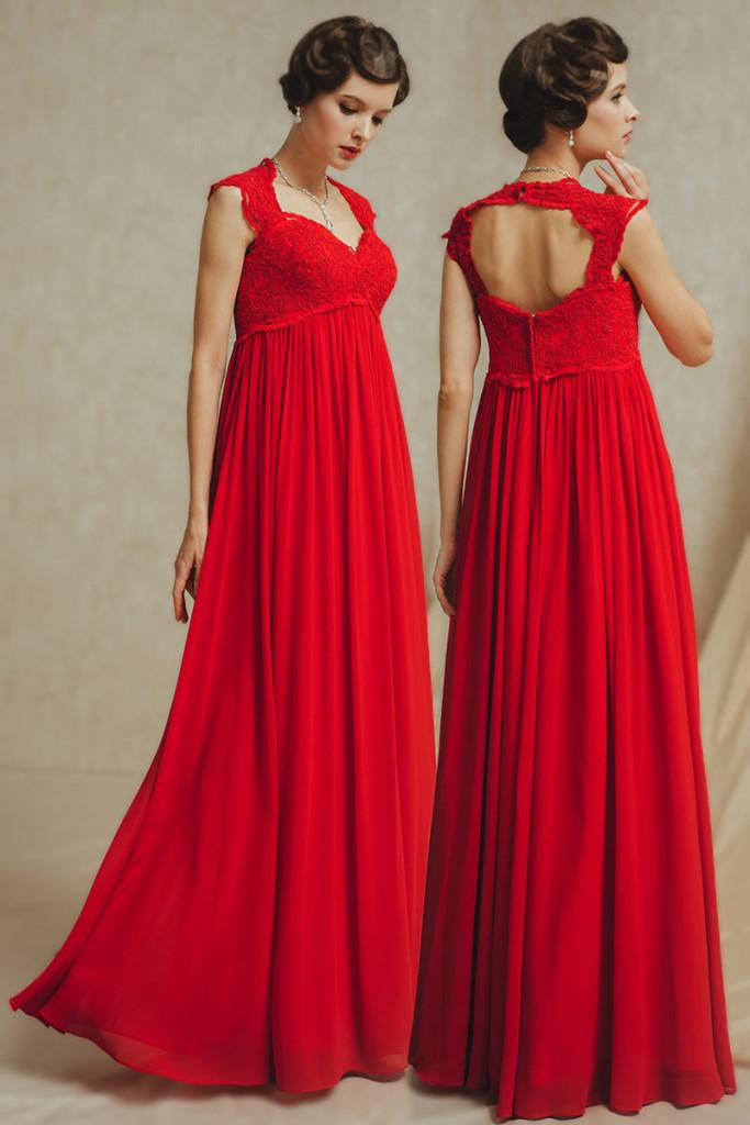 Robe de mariée rouge empire pour la femme grossesse dos ouvert