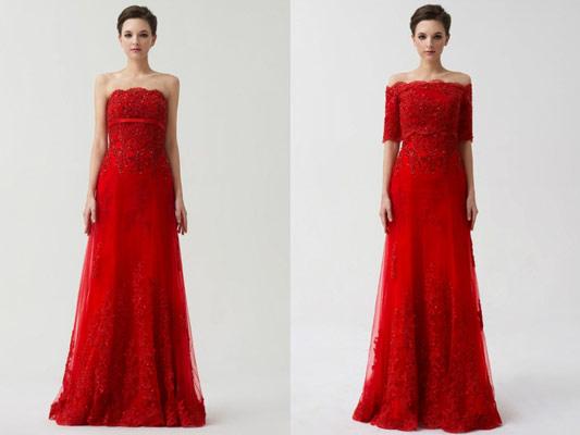 robe-de-mariee-bustier-rouge-dentelle-bolero-detachable