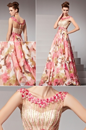robe-de-soiree-imprimee-oriental-perles-applique-rose