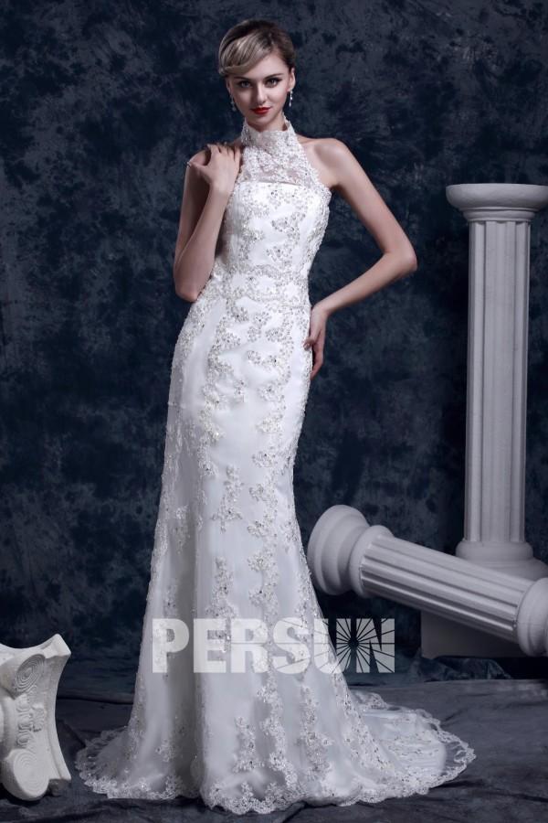 robe de mariée dentelle Trompette Sirène à col roulé à traine Chapel
