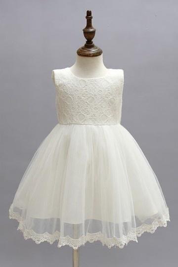 simple robe mariage enfant à haut en dentelle