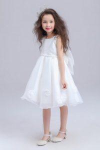 tutu robe cérémonie de fille avec noeud papillon détachable