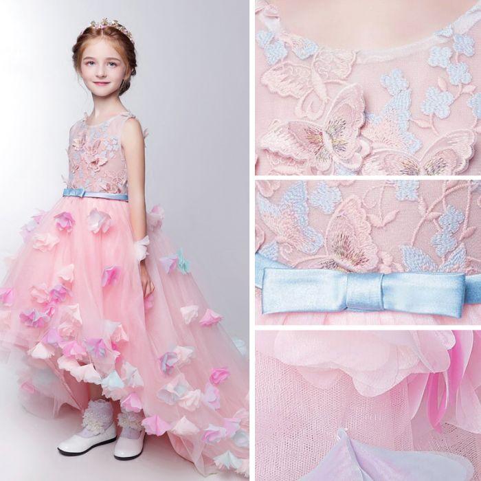 robe cortège fille princesse orné de fleurs