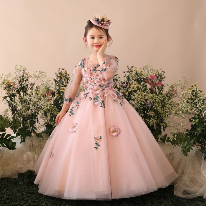 77b474c14c517 robe princesse embelli de fleurs pour fille. robe mariage enfant rose  longue jupe bouffant
