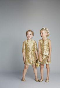 robe cérémonie de fille dorée courte