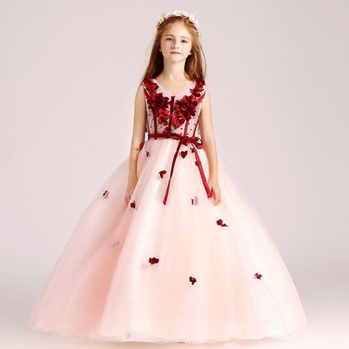 robe mariage enfant rose longue jupe bouffant