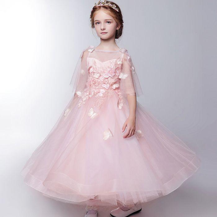 robe mariage enfant rose princesse à pétale