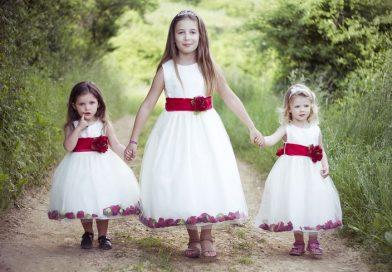 princesse robe cortège fille avec ceinture rouge
