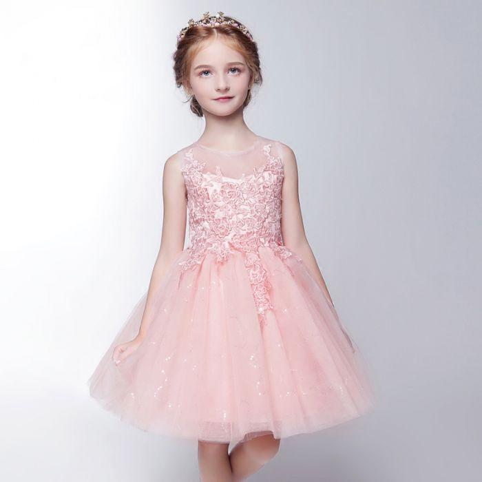 Robe Mariage Enfant Rose Courte Appliquée De Fleurs La