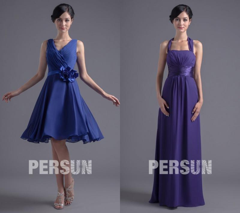 Chic robes cortège mariage pas cher bleu & violette en mousseline persun.fr