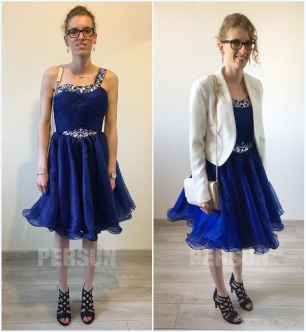 robe de bal bleu courte asymétrique orné de strass