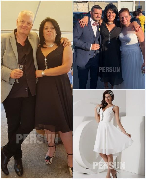 robe invité mariage courte col en V orné de bijoux