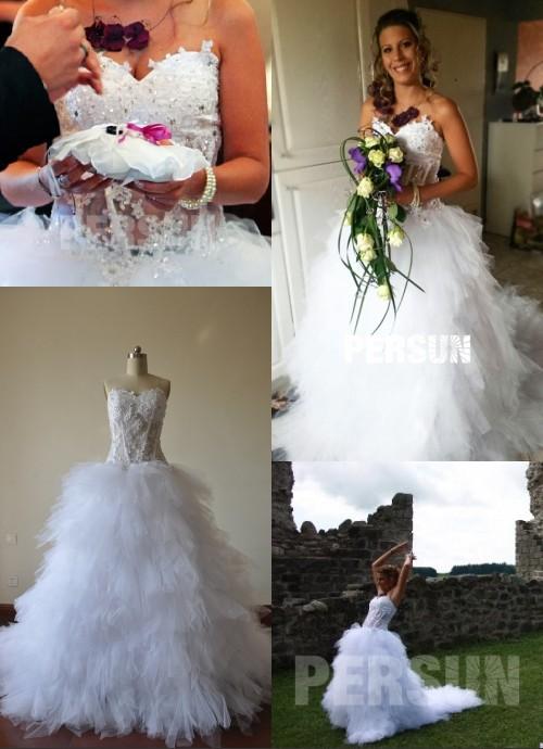 sexy robe de mariée longue corsage bijouté mi transparente
