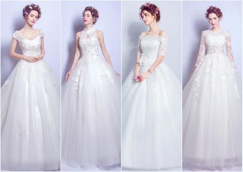 robes de mariée princesse longues appliquée de dentelle