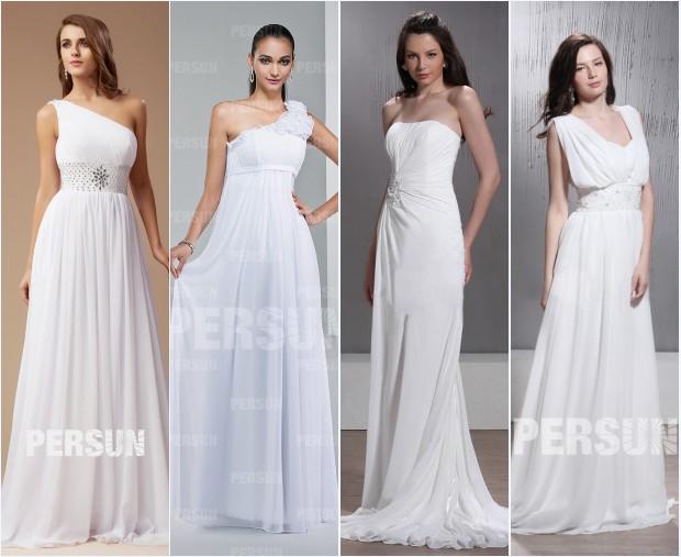 Robes de mariée longues blanches en mousseline