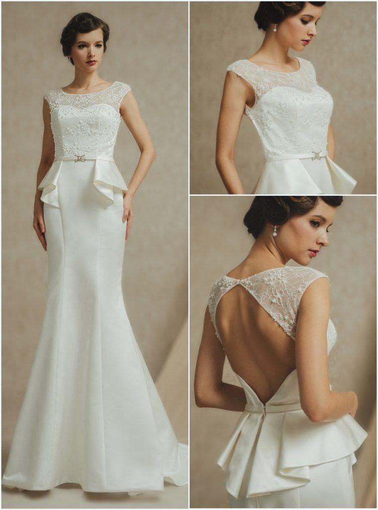 Robe de mariée sirène appliqué de dentelle dos découpé