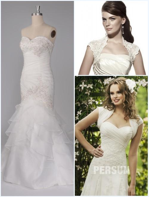 robe de mariée bustier coeur strass et boléros