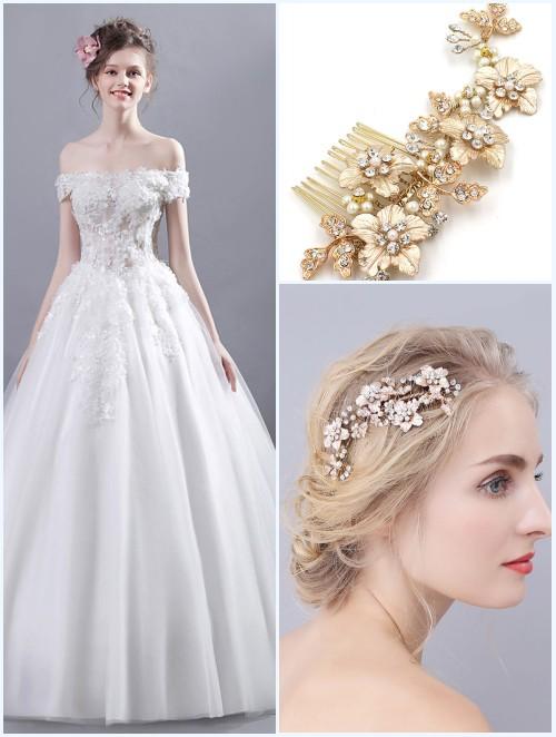 broche de cheveux mariage pour robe mariée princesse à épaule dénudée